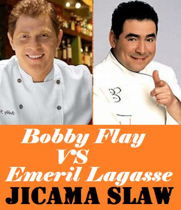Image with the words Bobby Flay vs Emeril Lagasse - Jicama Slaw
