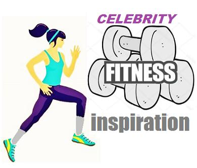 Illustration of a woman running and dumbbells that include the words celebrity fitness inspiration