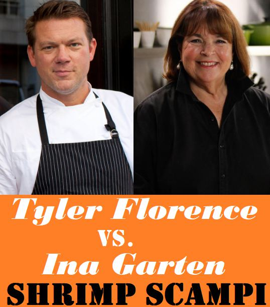 Image with the words Tyler Florence vs Ina Garten - Shrimp Scampi