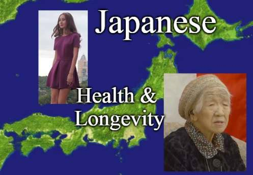 An image of Japan overlayed with a picture of a young slim Japanese woman and Kane Tanaka from Japan, the olderst person in the world.
