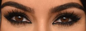 Picture of Kim Kardashian eyes, eyelashes, and eyebrows