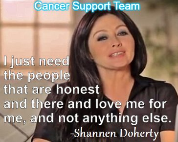 Shannen Doherty says having the support of family and friends is helping with her cancer struggle