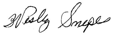 Wesley Snipes's signature