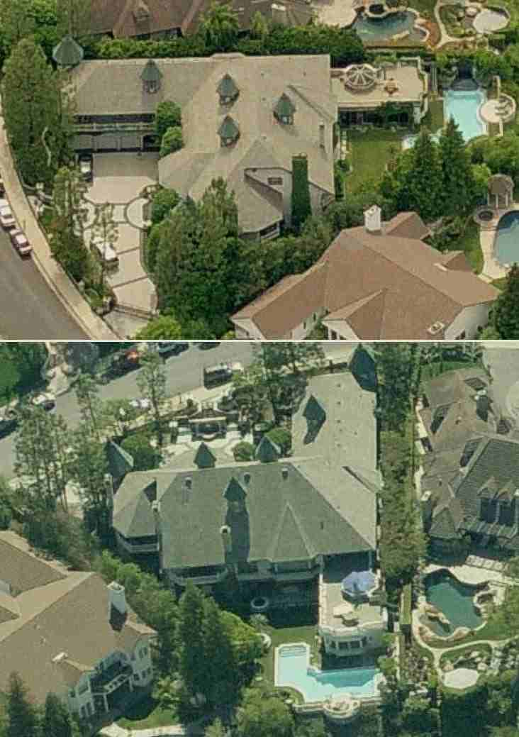 Dr Dre's house in Woodland Hills, California - Dr Dre aerial home rare photo